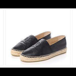 Black lambskin leather auth Chanel espadrilles 37
